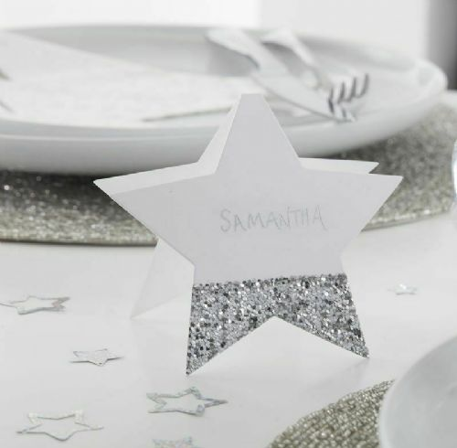Silver Star Place Cards 6pk